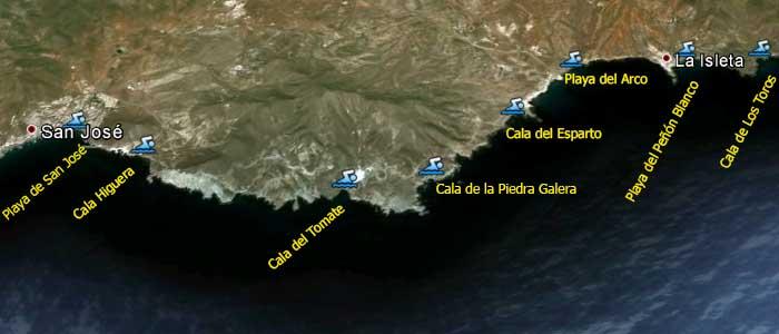 Mapa De Playas Cabo De Gata Parque Natural En Almería